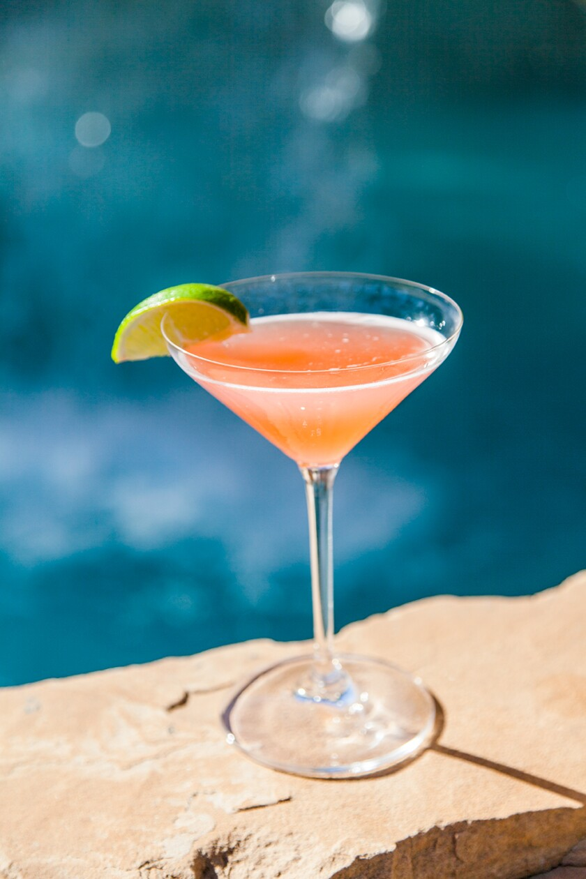 Popular Demand, a customer favorite at Harrah's, is made with strawberry rhubarb vodka, pavan, lime, and basil lemon syrup.