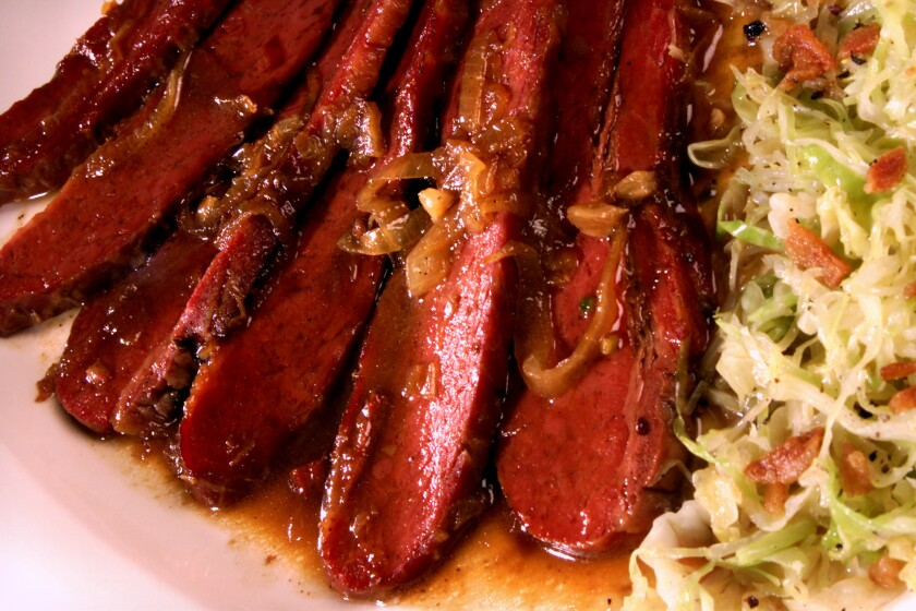 Corned beef in bourbon-brown sugar isn't the usual St. Patrick's Day fare -- but it's a good use for corned beef leftovers. Recipe: Corned beef in Bourbon-brown sugar sauce