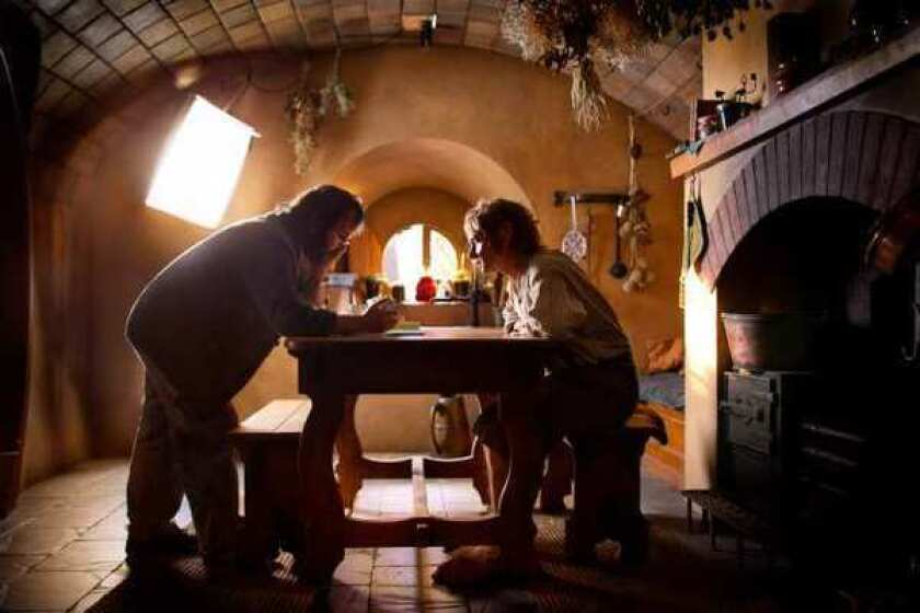 """Peter Jackson with Martin Freeman on the set of """"The Hobbit: An Unexpected Journey."""""""