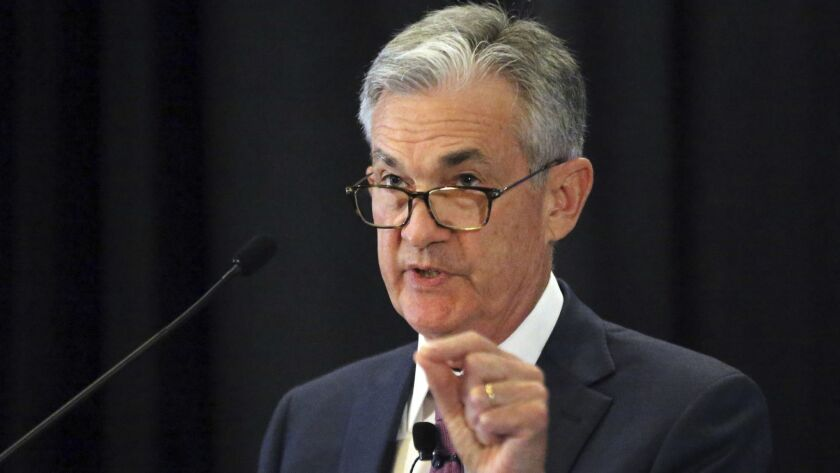 Federal Reserve Chairman Jerome H. Powell speaks at the annual meeting of the National Assn. for Business Economics on Oct. 2 in Boston.