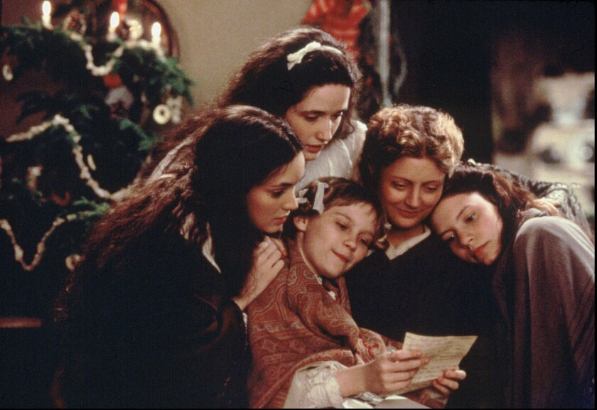 "Winona Ryder, left, Trini Alvarado, Kirsten Dunst, Susan Sarandon and Claire Danes costar in the 1994 adaptation of Louisa May Alcott's ""Little Women."""