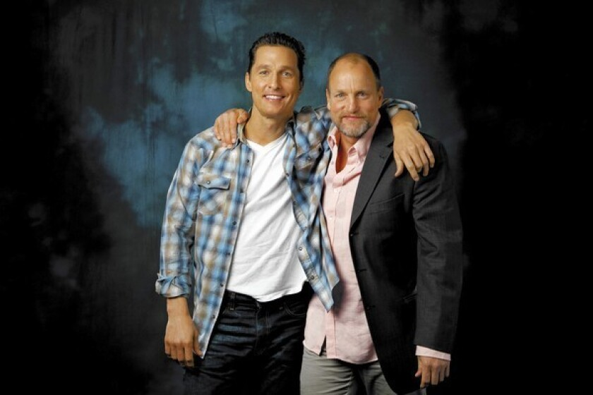 """Matthew McConaughey, left, and Woody Harrelson of the new HBO series """"True Detective"""" are photographed in Beverly Hills."""