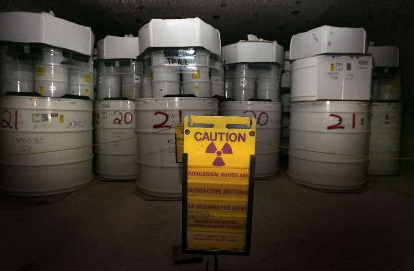 Waste containers in nuclear dump.