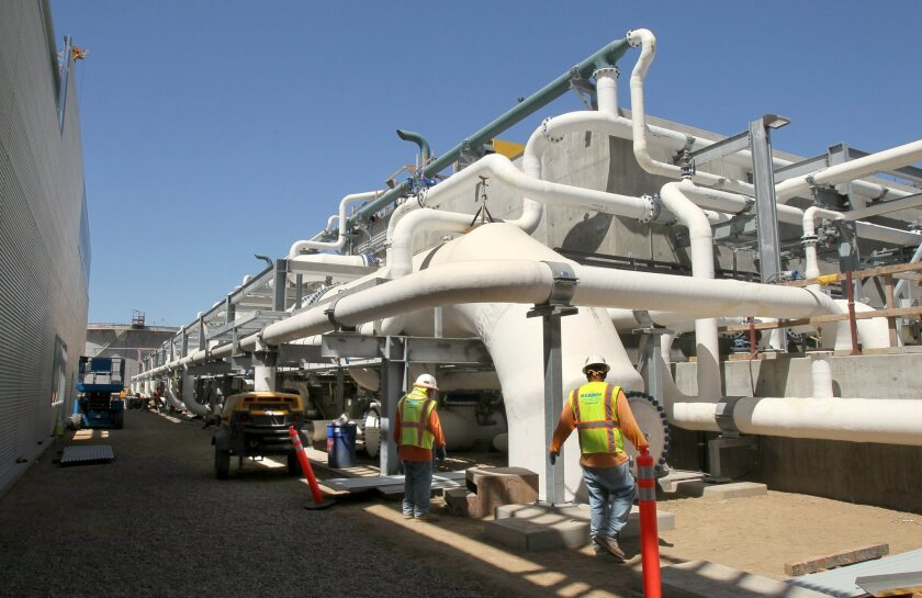 View of some of the hardware at the Carlsbad Desalination Project.