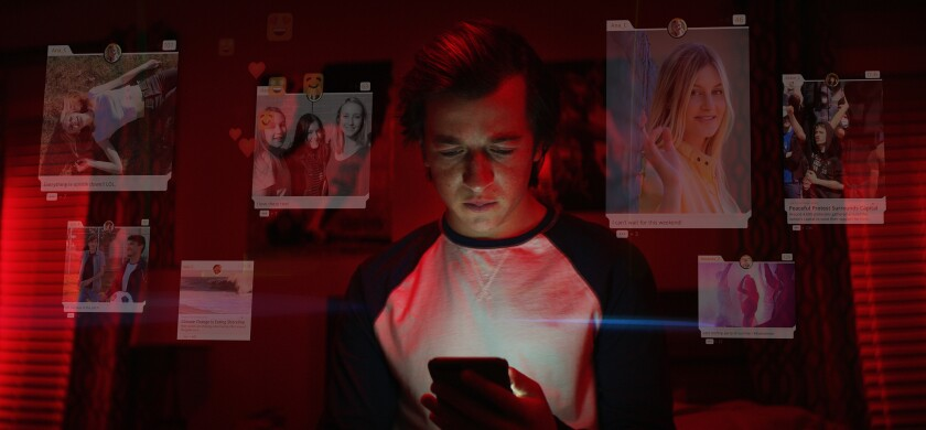 """This image released by Netflix shows Skyler Gisondo in a scene from """"The Social Dilemma."""" (Netflix via AP)"""