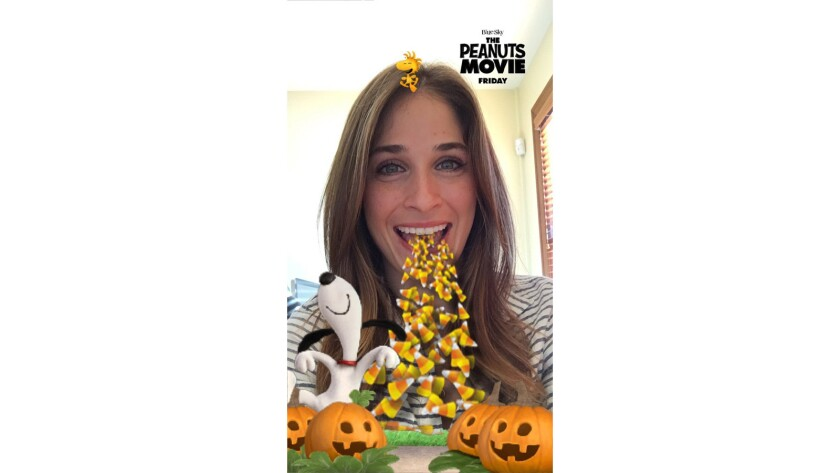 "Snapchat ""The Peanuts Movie"" selfie animation"