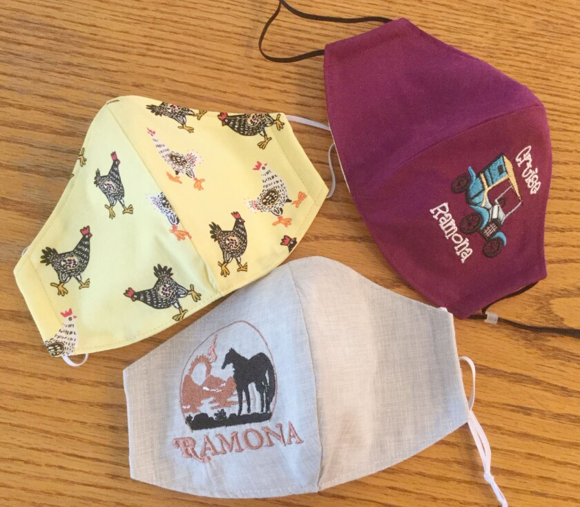 Michele Trabert embroiders a variety of patterns on masks and other cloth products, including Ramona-themed pictures.