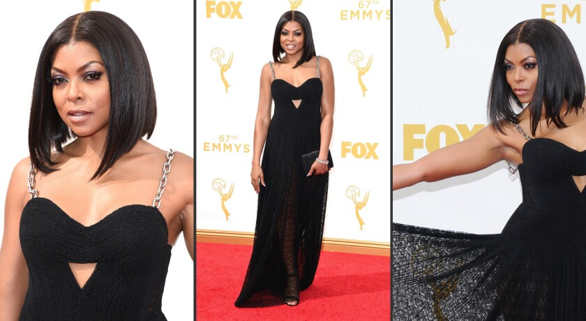 """Taraji P. Henson, nominated for lead actress in a drama for """"Empire,"""" looked edgy but elegant in a black lace bustier gown by Alexander Wang"""