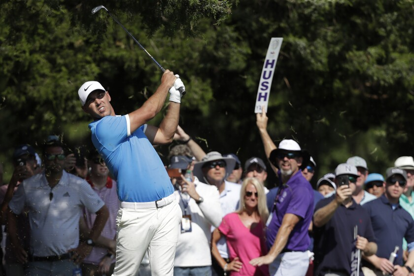 Brooks Koepka hits from the 16th tee during the final round.