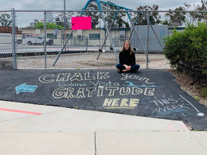 "Lilly O'Shaughnessy, a Solana Vista grad, started the ""Chalk Your Gratitude"" initiative at her former school."