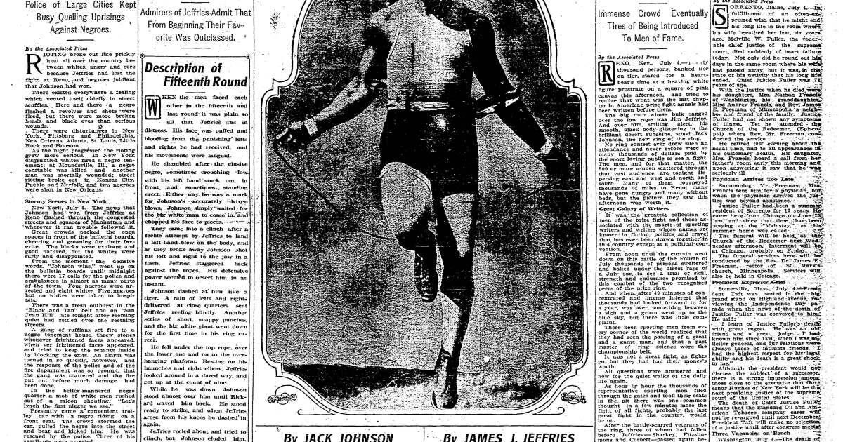 From the Archives: Jack Johnson and Jim Jeffries in the 'Fight of the Century'