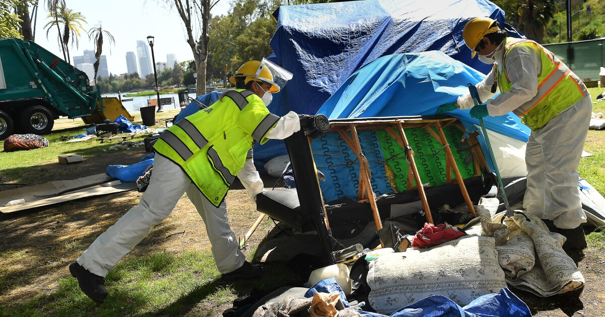 Sanitation workers collect 35 tons of trash while preparing to reopen Echo Park Lake