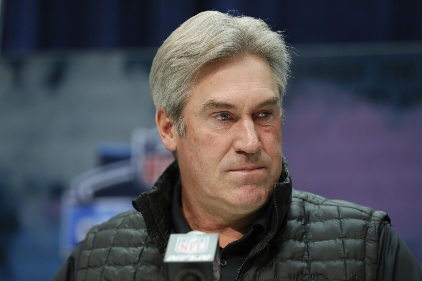 Philadelphia Eagles coach Doug Pederson attends a news conference.