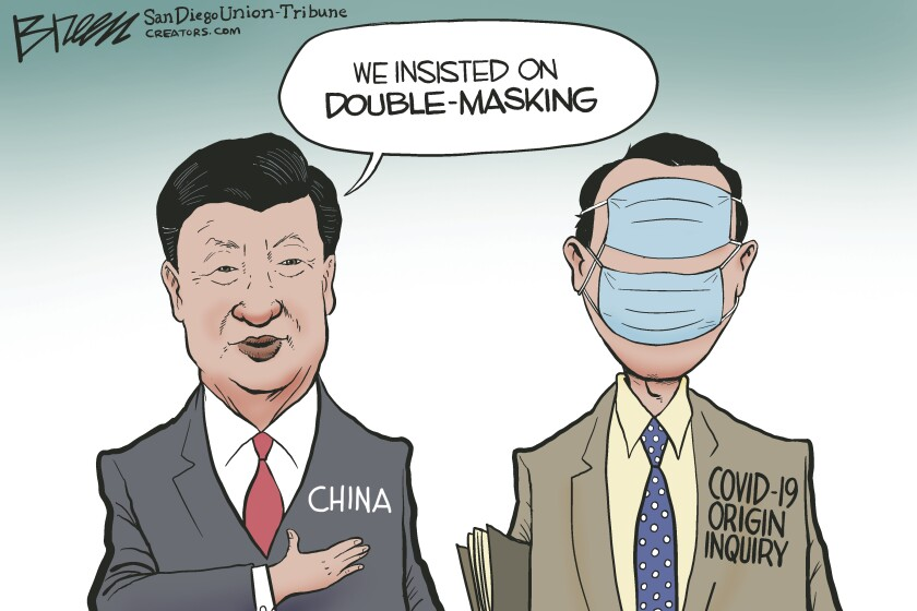 China covers the eyes and mouth of a virus origin investigator with masks in this Breen cartoon