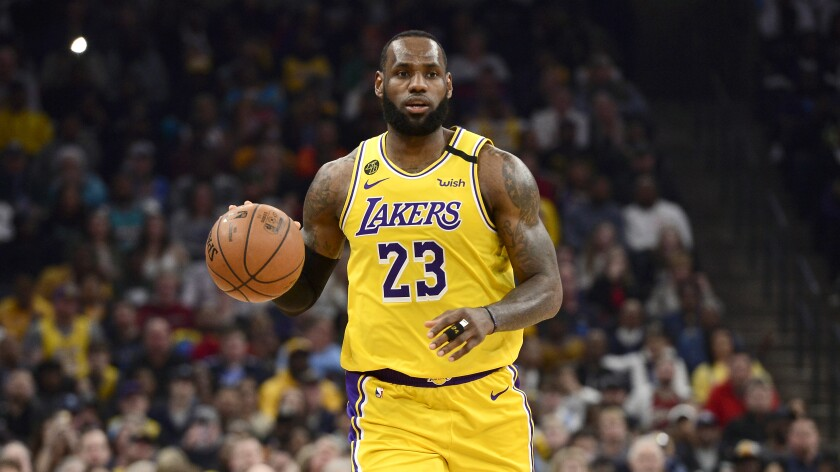 Los Angeles Lakers forward LeBron James plays against the Memphis Grizzlies in February.