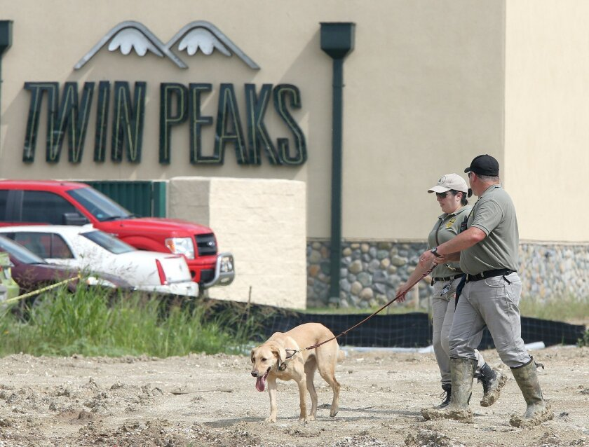 In this May 18, 2015, photo, authorities search a vacant lot near the Twin Peaks restaurant Monday, May 18, 2015, in Waco, Texas. About 170 members of rival motorcycle gangs were charged with engaging in organized crime Monday, a day after a shootout at a Twin Peaks killed nine people and wounded 18. Some civil rights activists and media critics are wondering about the differences between public perceptions of the fatal violence in Waco, Texas, and protests in Baltimore and Ferguson, Missouri, over police killings of black men. (AP Photo/Jerry Larson)