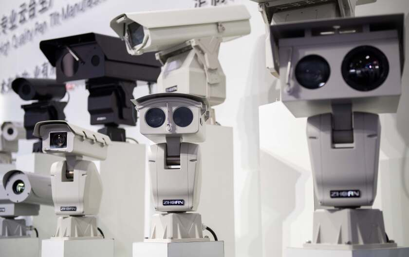 AI security cameras using facial recognition technology at the China International Exhibition on Public Safety and Security.
