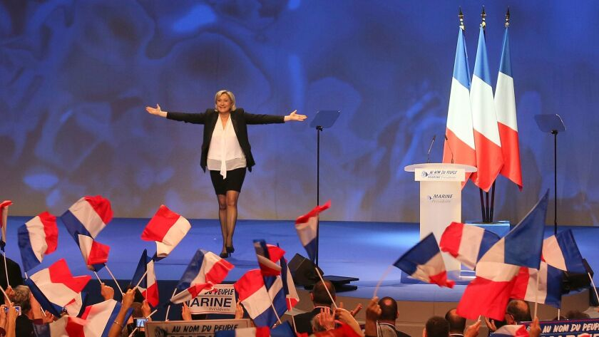 French far-right leader presidential candidate Marine Le Pen at the start of a meeting in Nantes, western France.