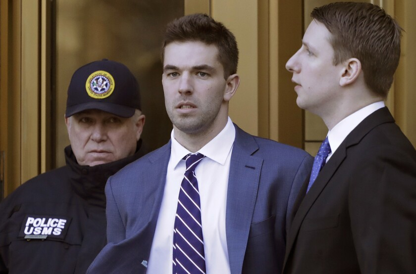 Billy McFarland, the promoter of the failed Fyre Festival in the Bahamas, leaves federal court on March 6 after pleading guilty to wire fraud charges. On Thursday, he was sentenced to six years in prison.
