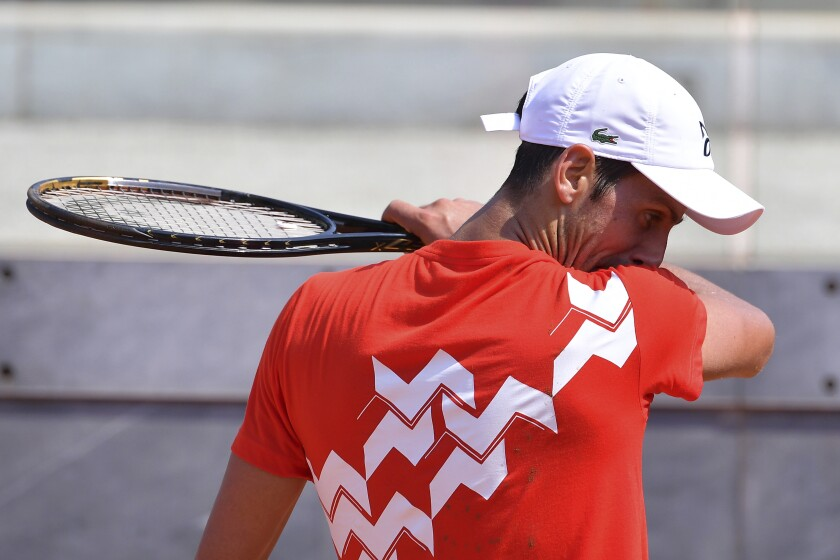 Serbia's Novak Djokovic attends a training session at the Italian Open tennis tournament in Rome, Tuesday, Sept. 15, 2020. (Alfredo Falcone/LaPresse via AP)