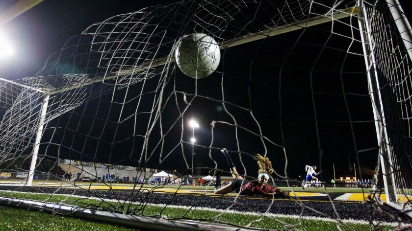 The winning penalty kick hits the back of the net for Eastlake in last year's Open Division final.