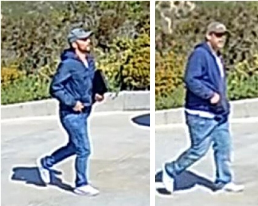 """Surveillance photographs show the two men suspected of posing as """"water department"""" utility workers and then stealing from an elderly victim in La Jolla."""