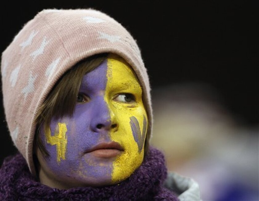 A Minnesota Vikings fan watches warmups before an NFL game between the Vikings and the Chicago Bears in Chicago, Monday, Dec. 28, 2009. (AP Photo/Nam Y. Huh)