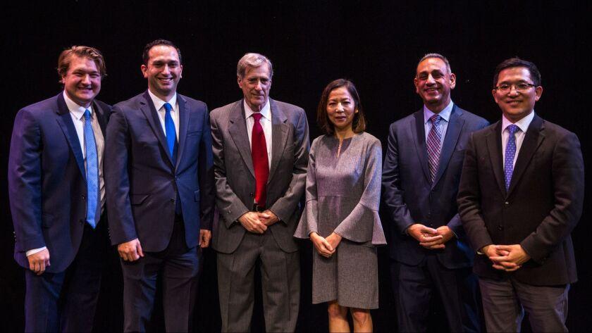 FULLERTON, CA - JANUARY 10: Candidates Phil Janowicz, Sam Jammal, Andy Thorburn, Mai-Khanh Tran, Gil