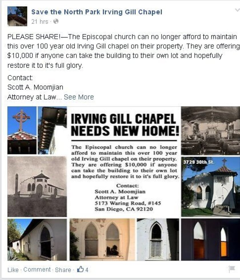This notice on Facebook details the St. Luke chapel building relocation offer.