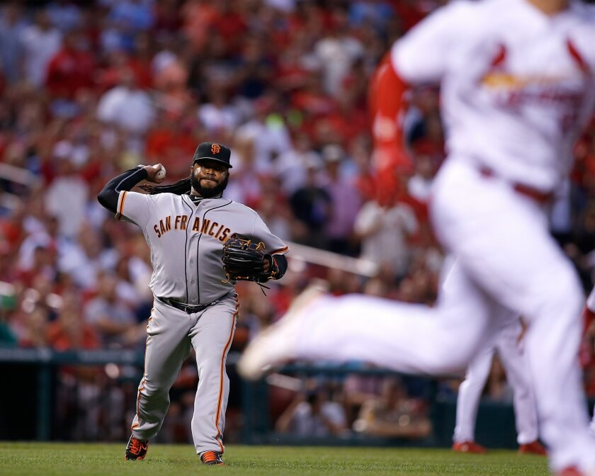 San Francisco Giants starting pitcher Johnny Cueto, left, throws to first for an out against St. Louis Cardinals Randal Grichuk to end the in the third inning of a baseball game Friday, June 3, 2016 in St. Louis. (AP Photo/Scott Kane)