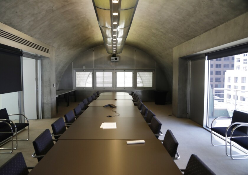 LOS ANGELES, CA - March 8, 2019: The board room of the MOCA Grand in downtown Los Angeles. The 2019
