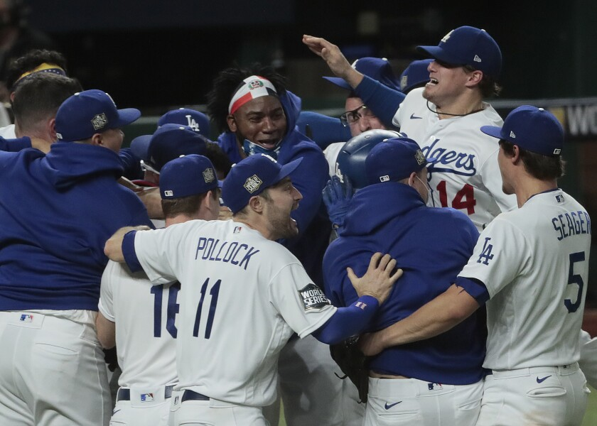 The Dodgers celebrate their World Series win over the Tampa Bay Rays.