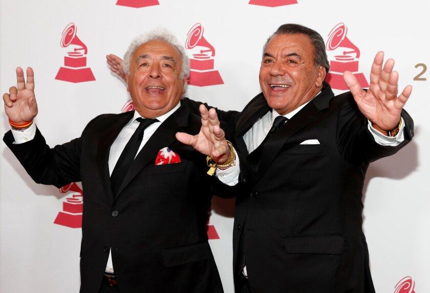 Antonio Romero Monge and Rafael Ruiz of Los Del Rio arrive for the 2017 Latin Recording Academy Person of the Year Gala in Las Vegas