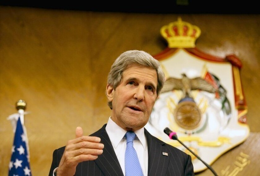 Secretary of State John F. Kerry speaks at a news conference in Amman, Jordan.