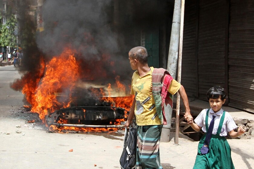 In Bangladesh, death penalty for Islamist leader sparks riots