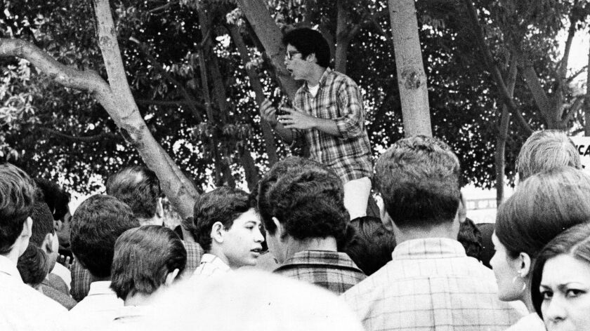 John Ortiz, a Mexican-American student leader at James A. Garfield High School, addresses assembled students during a walkout in Los Angeles on March 7, 1968.