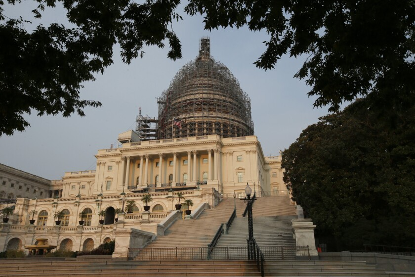 The west front of the U.S. Capitol is seen under repair on Sept. 2 in Washington.