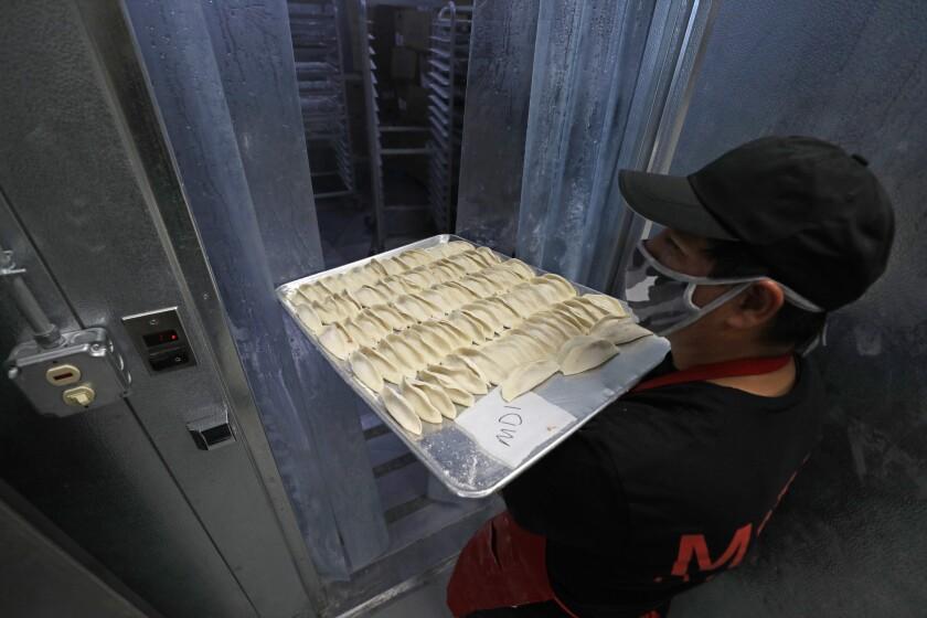 Freshly-made dumplings for Cali Dumpling.