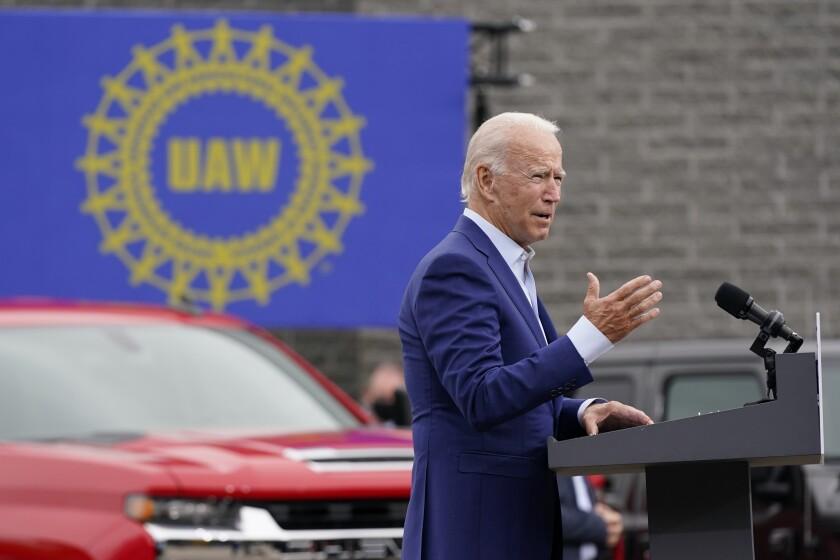 Democratic presidential candidate Joe Biden campaigns in Warren, Mich., on Wednesday.