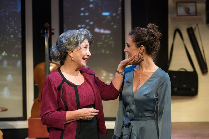 "Gabriela (Luisina Quarleri, right) isn't sure why Carolina (Irene De Bari) greets her like a long-lost relative in ""The Abuelas"" at Antaeus Theatre Company."