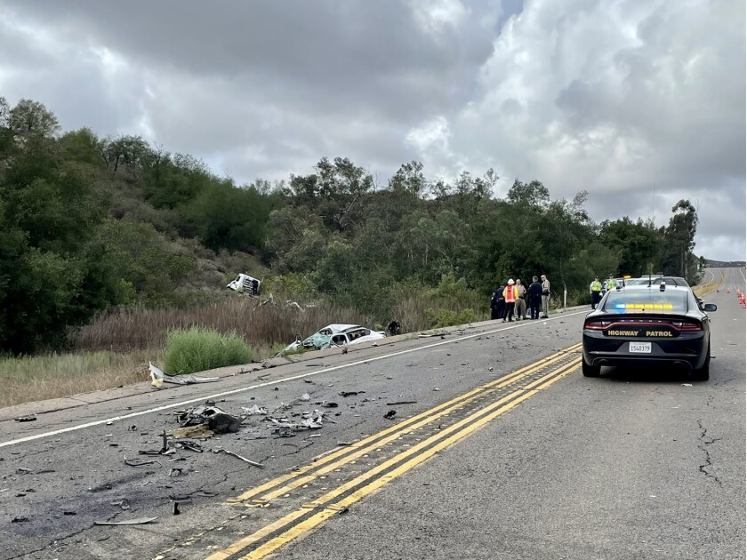 A crash Friday afternoon on SR-67 south of Scripps Poway Parkway injured at least three people, one seriously.