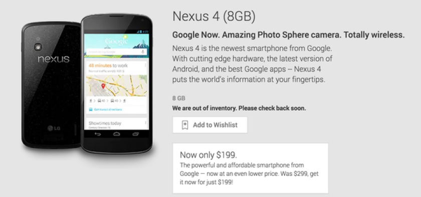 Google recently cut the price of its 8 GB Nexus 4, and just a few days later, the device has sold out.