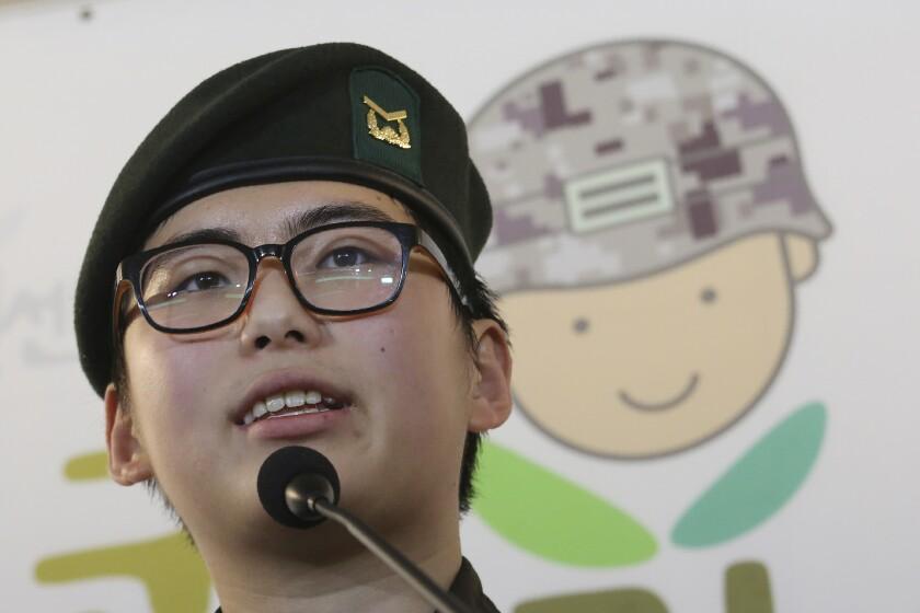 South Korean army Sgt. Byun Hui-su speaks in Seoul.