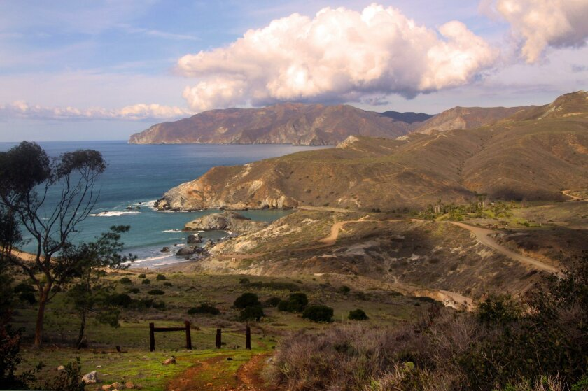 A view of the jaw-dropping landscapes at Little Harbor on Catalina Island.