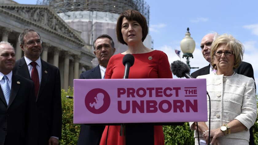 Rep. Cathy McMorris Rodgers (R-Wash.) speaks at a news conference on the so-called Pain-Capable Unborn Child Protection Act, which would ban late-term abortions, in May of 2015.