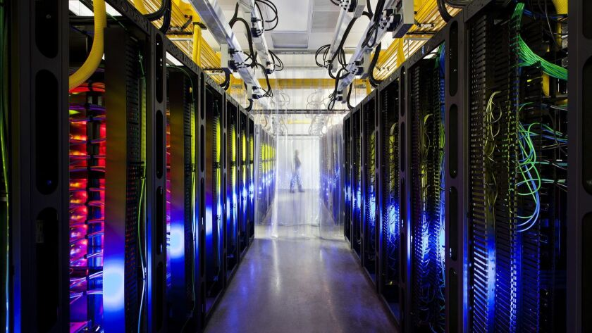 This undated photo made available by Google shows the campus-network room at a data center in Counci