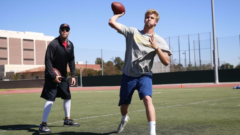 Former San Diego State quarterback Ryan Lindley (left) works with Cal QB Jared Goff for Rep 1 Sports before the 2016 NFL combine.
