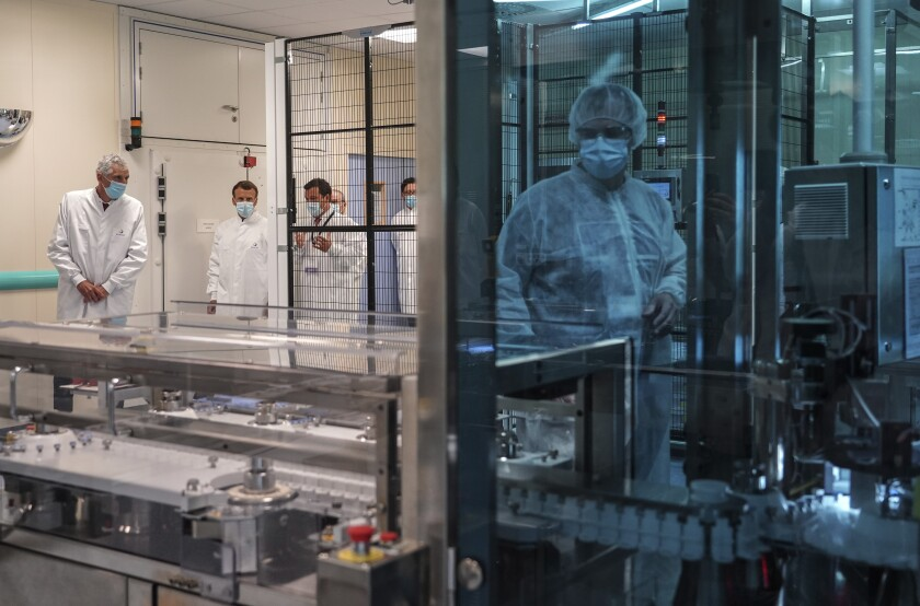 French President Emmanuel Macron at Sanofi Pasteur plant