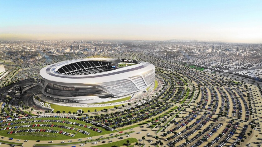 Goldman Sachs has crafted a public-private partnership to build in Carson the nation's costliest stadium, shown in a rendering.