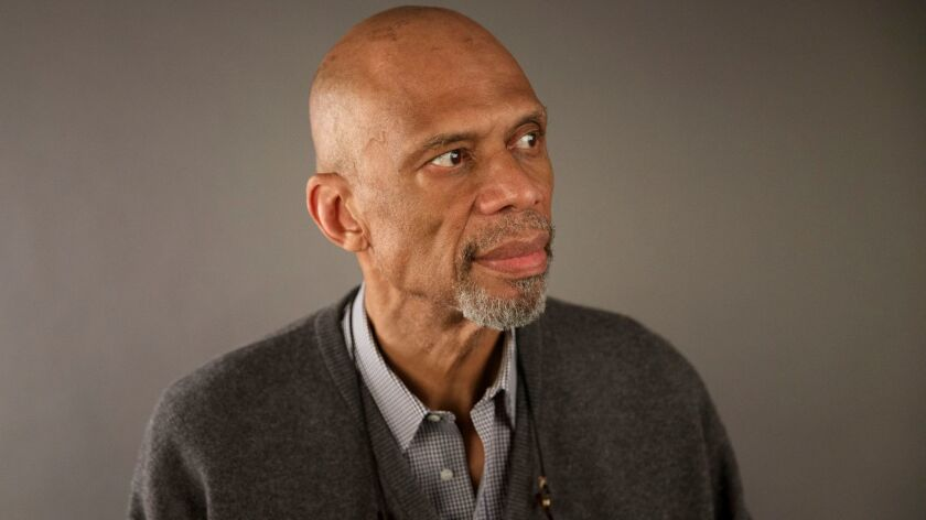 Former NBA star and author Kareem Abdul-Jabbar sits for a portrait during the Los Angeles Times Fest